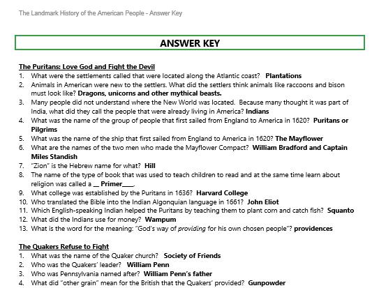 Sample page of Answer Key for Landmark History Workbook PDF